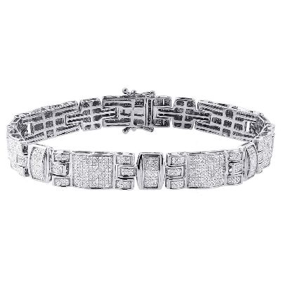 white gold hip hop diamond bracelet