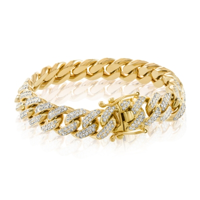 diamond cuban link hip hop bracelet