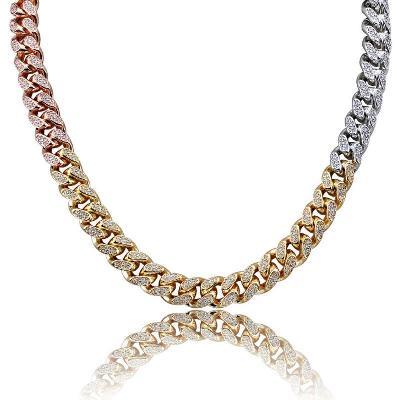 3 tone hip hop diamond necklace