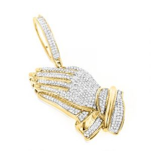 praying hands hip hop diamond pendants