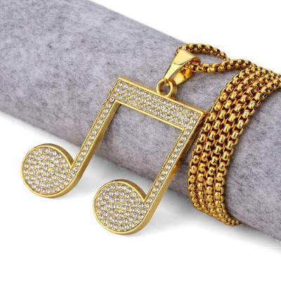 musical note hip hop diamond pendant