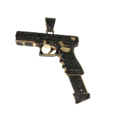 black diamond gun pendant