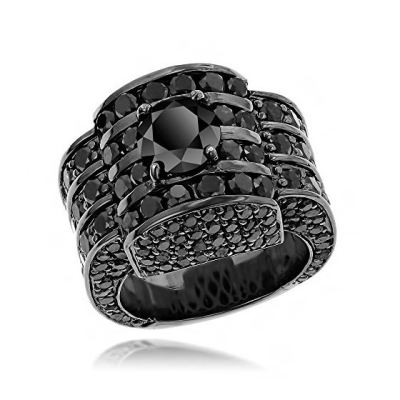 mens black diamond ring