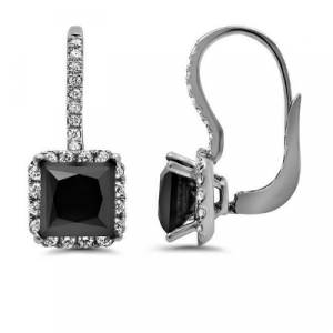 black diamond princess cut dangle earring
