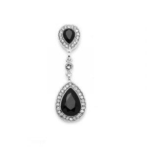 black pear shape dangle earrings