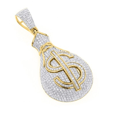 money bag hip hop diamond pendant