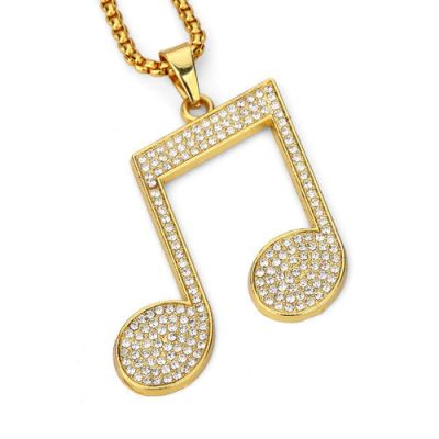 musical note hip hop diamond pendant