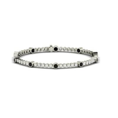 fancy black and white diamond tennis bracelet