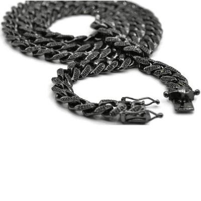 black diamond cuban link chain necklace