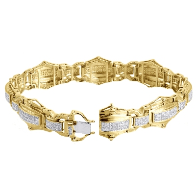 men's link hip hop diamond bracelet