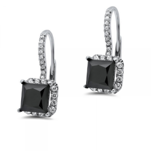 black diamond princess cut dangle earring