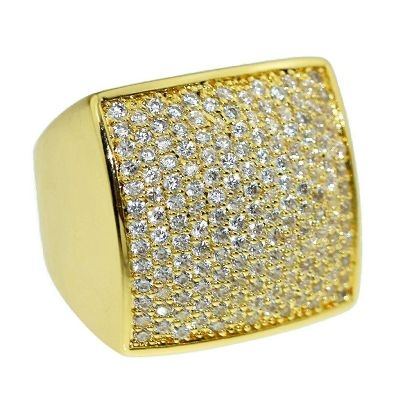 square hip hop diamond ring