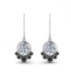 bezel diamond dangle earring