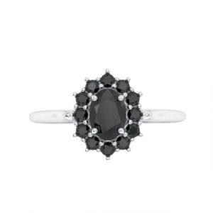 black diamond oval halo ring