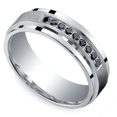 men's black diamond wedding band