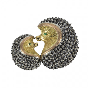 black diamond brooch pin