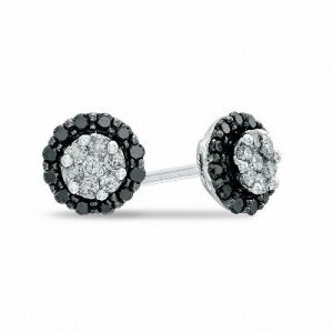 black and white diamond stud earring