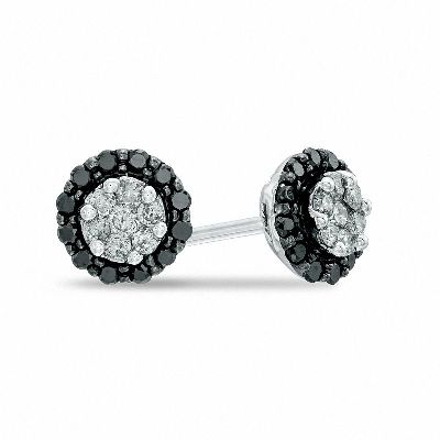 black and white diamond stud earring