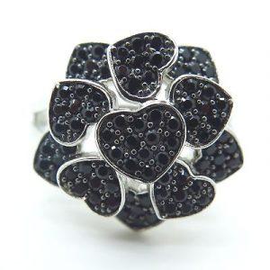 black diamond heart shape ring