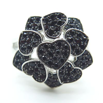 black diamond heart shape ring