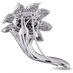 black diamond flower brooch