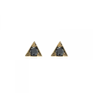 unisex black diamond stud earring