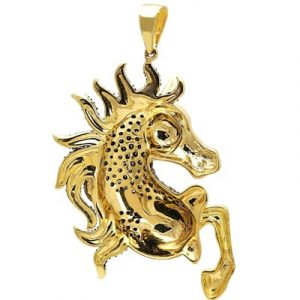 black diamond horse pendant