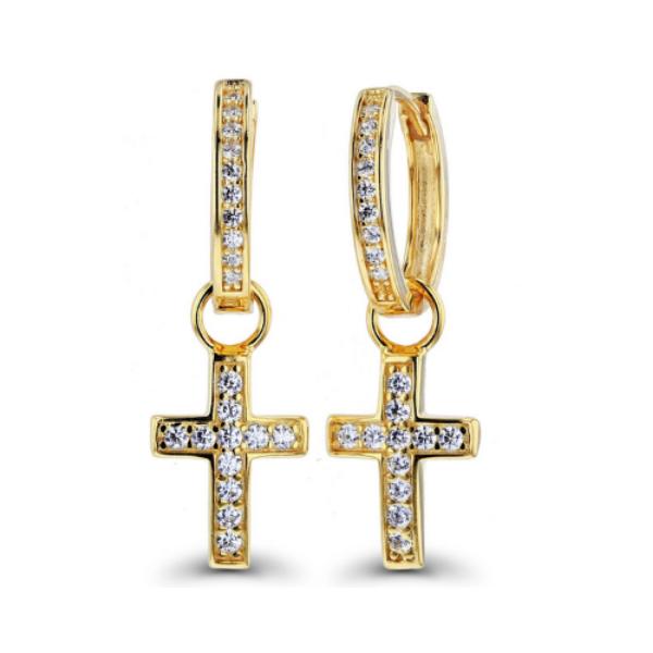 cross diamond earring
