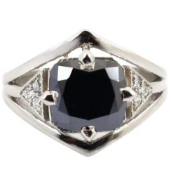 Cushion black diamond ring