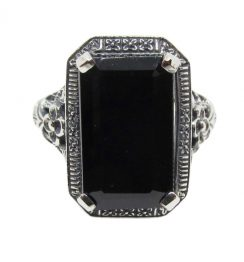emerald cut black diamond ring
