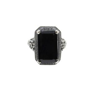 emerald cut black diamond ring