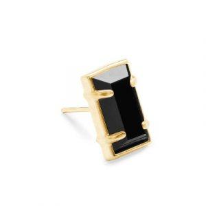 black emerald cut stud earrings