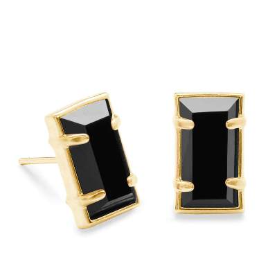 black emerald cut stud earrings
