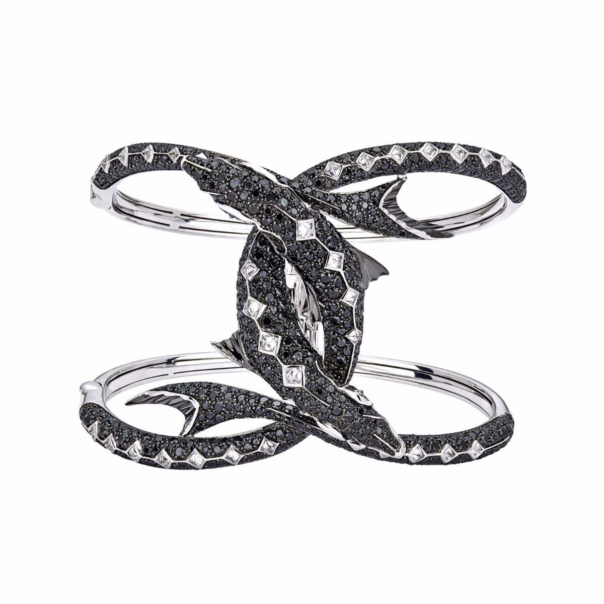 black diamonds bangle bracelet