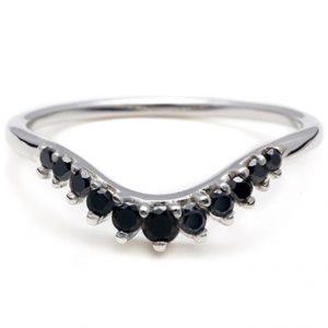 black diamond curved wedding band