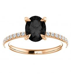 2ct oval black diamond ring