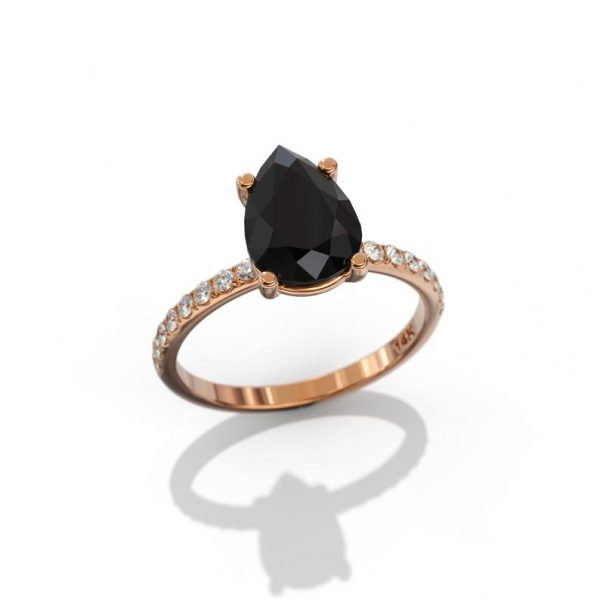 2ct pear cut black diamond engagement ring