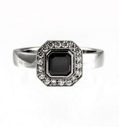 0.75ct asscher cut halo ring