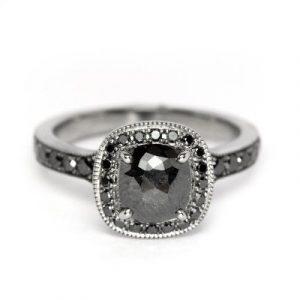 black diamond vintage rings
