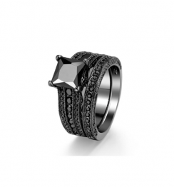 black diamond princess ring