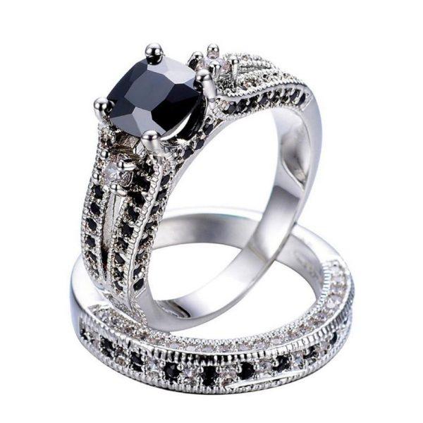 Cushion black diamond ring