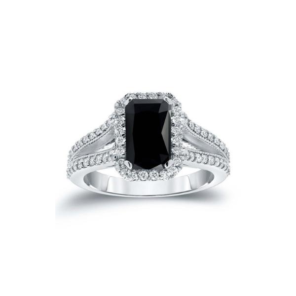 2ct black emerald cut diamond ring