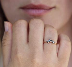 wedding ring with black diamond