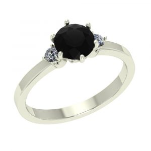 1ct 3 stone black diamond ring