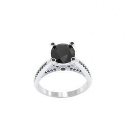 2ct 10k white gold black diamond ring