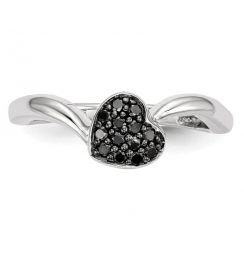 0.50ct black diamond heart ring