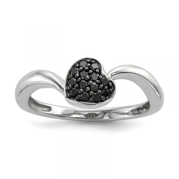 0.50ct black diamond heart ring