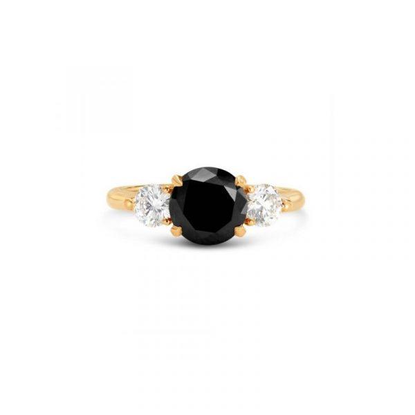 black and white three stone ring