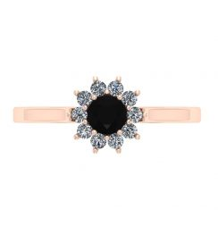 0.50ct black diamond cluster ring