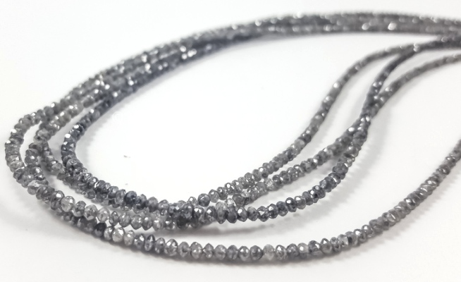 Grey faceted diamond beads